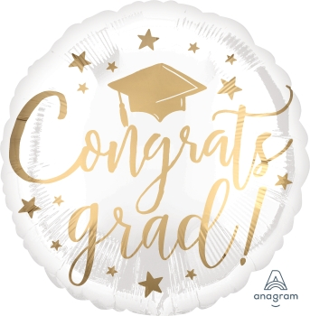 Congrats Grad white & gold Mylar Balloon