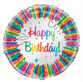 Happy Birthday Bright Mylar Balloon