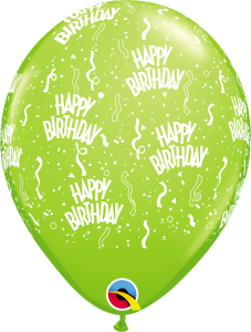 49607 Lime Green Birthday A Round latex balloon