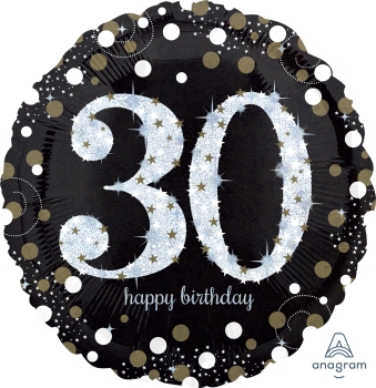 "30 th Sparkling Birthday 28"" Mylar Balloon"