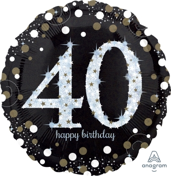 40 th Sparkling Birthday 28 Mylar Balloon