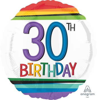 30 th Rainbow Birthday Mylar Balloon