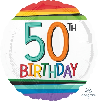 50 th Rainbow Birthday Mylar Balloon