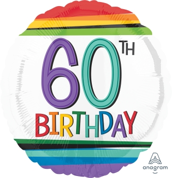60 th Rainbow Birthday Mylar Balloon