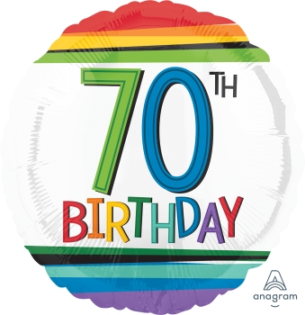 70 th Rainbow Birthday Mylar Balloon