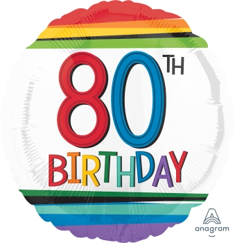 80 th Rainbow Birthday Mylar Balloon