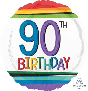90 th Rainbow Birthday Mylar Balloon