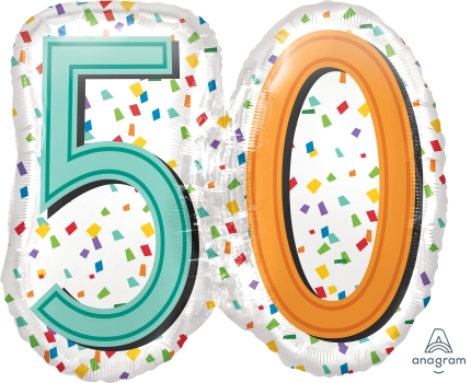 "50 th Rainbow Birthday 25"" x 22"" Mylar Balloon"
