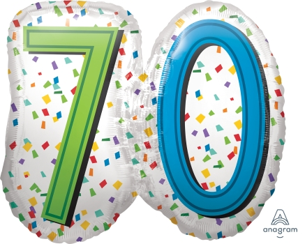 "70 th Rainbow Birthday 25"" x 23"" Mylar Balloon"