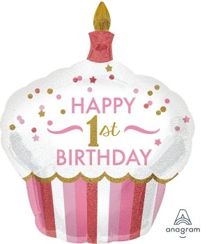 "1st Birthday Cupcake Girl 29"" x 36"" Mylar Balloon"