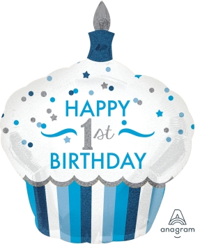 "34523 1st Birthday Cupcake Boy 29"" x 36"" Mylar Balloon"