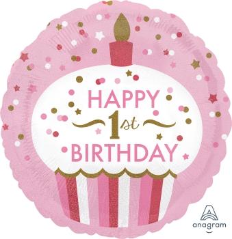 1st Birthday Cupcake Girl Mylar Balloon