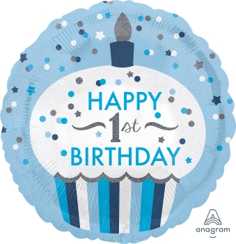 1st Birthday Cupcake Boy Mylar Balloon