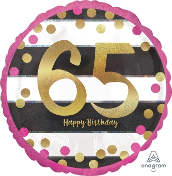 65 th Pink & Gold Milestone Mylar Balloon