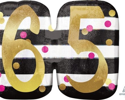 "65 th Pink & Gold Milestone 25"" x 20"" Mylar Balloon"