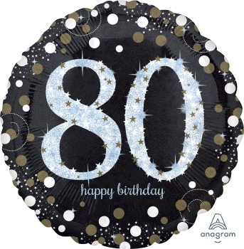 "80 th Sparkling Birthday 28"" Mylar Balloon"