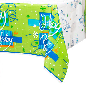 "Bright Birthday Plastic Table Cover 54"" x 84"""