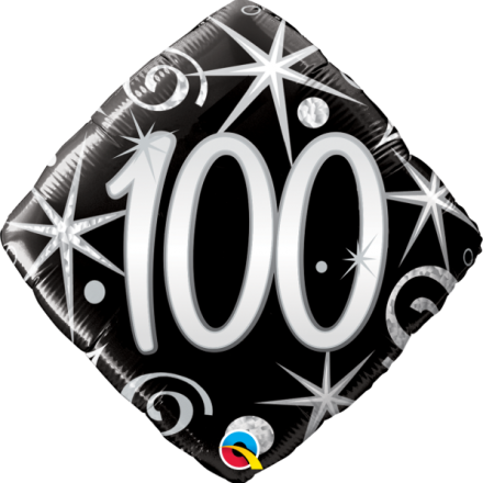 100 th Black & Silver Mylar Balloon