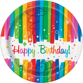 "Rainbow Ribbons Birthday 7"" Paper Plate 8 pk"