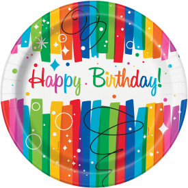 "Rainbow Ribbons Birthday 9"" Paper Plate 8 pk"