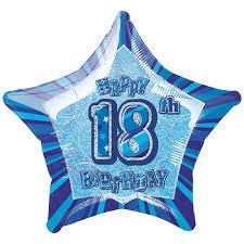 18 th Birthday Blue Mylar Balloon