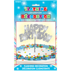 "Silver Flashing Happy Birthday 8.5"" Candle"