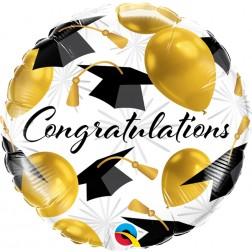 congratulations gold balloons grad caps mylar
