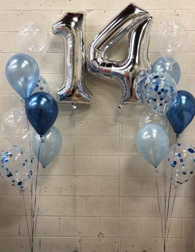 Blue balloons with Confetti and number 14