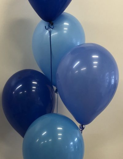 Shades of blue balloons in group of 5