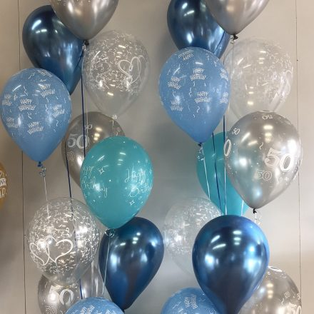 Blue and silver balloons in groups of 12