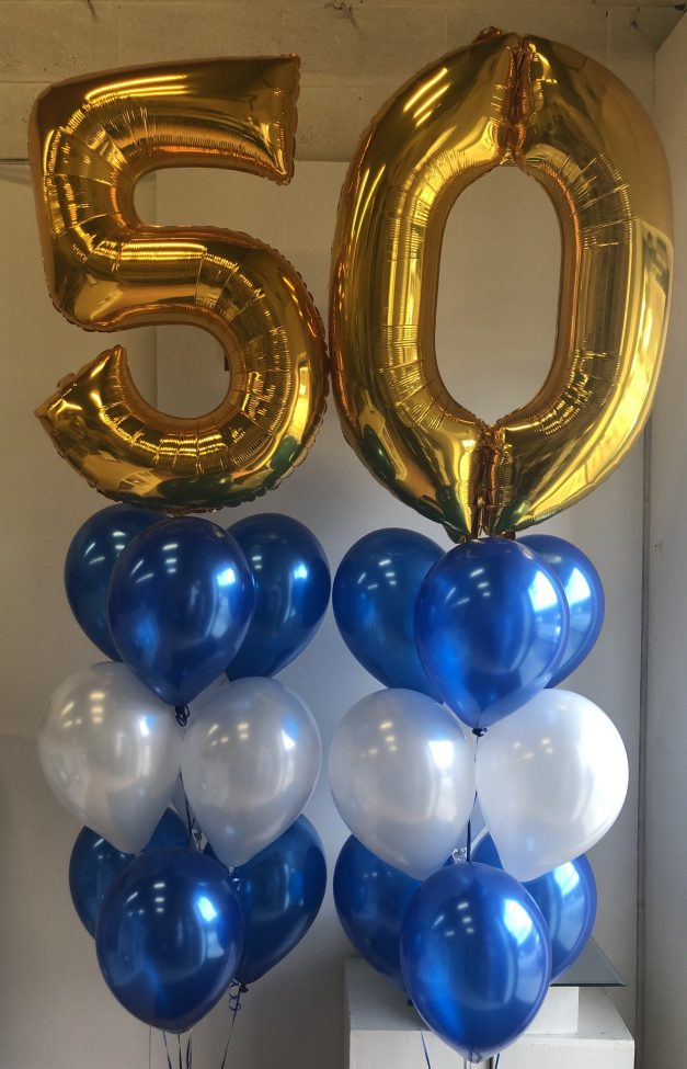 50th gold balloon with 3 rows helium pillar
