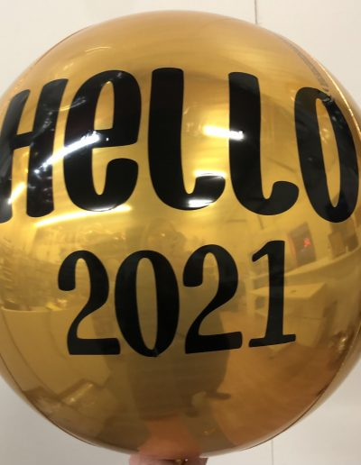 Gold Orbz balloon with custom print