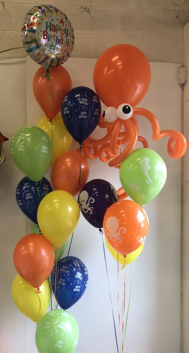 balloon group of 13 and group of 5 with octopus
