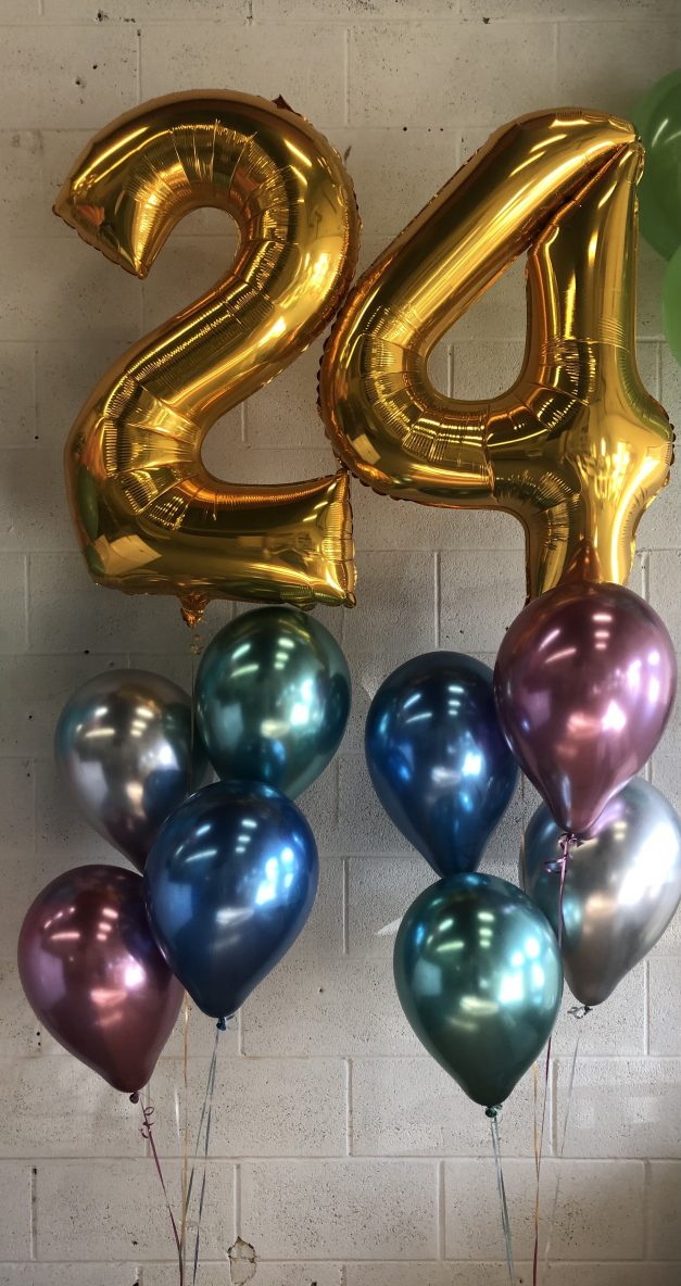 gold number balloons with chrome latex 2 groups of 5
