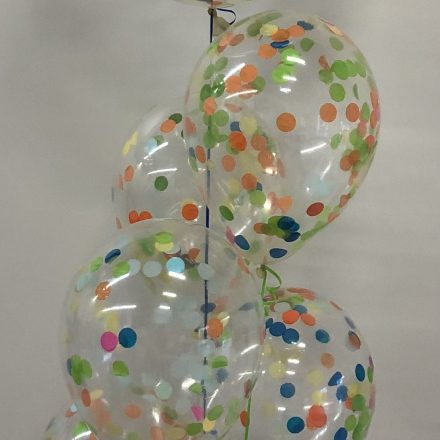 group of 5 confetti balloons with large on top