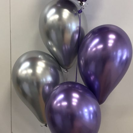 group of 5 purple balloon with chrome latex