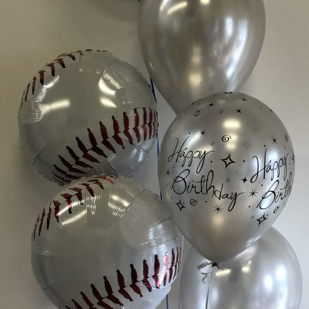 group of 6 baseball balloons