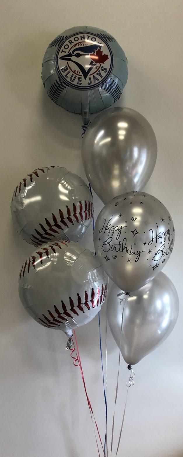 group of 6 baseball balloons