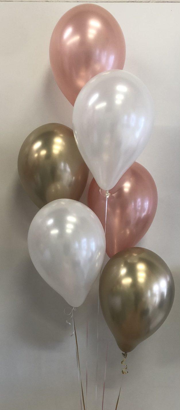 Balloon group of 6 rose gold white chrome gold
