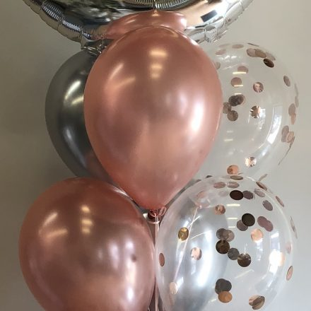 helium balloon pillar of 13 with super shape on top and confetti balloon