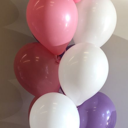 helium balloon pillar of 19 with pink bubble