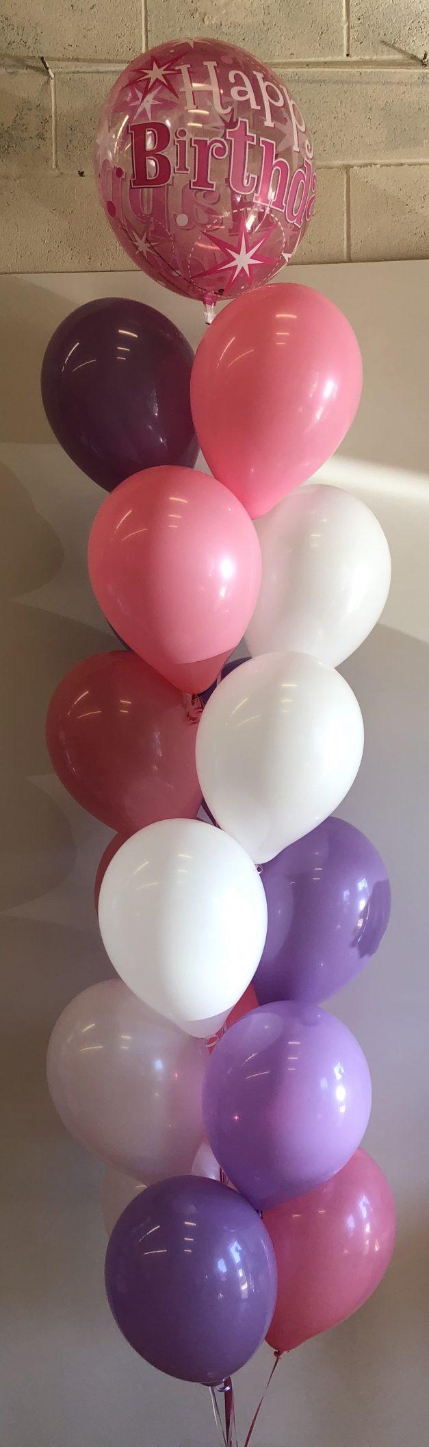 helium balloon pillar of 19 with pink bubble