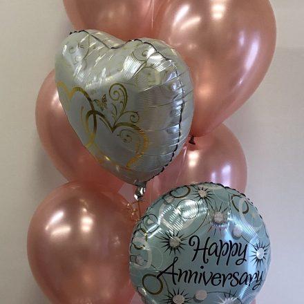 helium pillar of 13 anniversary balloons