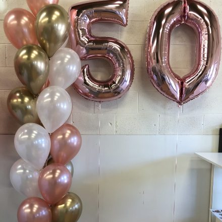helium balloon pillar of 19 with super shape numbers