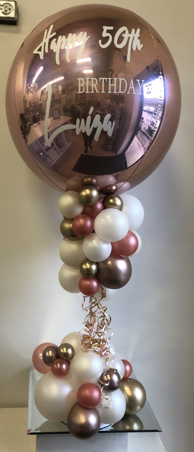 organic table top balloon with custom wording