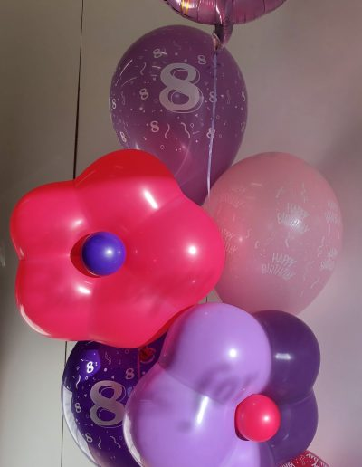 Group of 7 with latex flower balloons